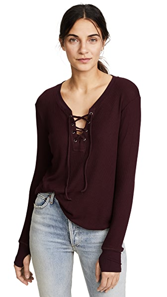 Feel The Piece Swift Lace Up Thermal Shirt In Syrah