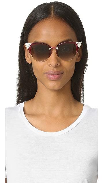 Fendi Солнцезащитные очки с отделкой кристаллами в углах