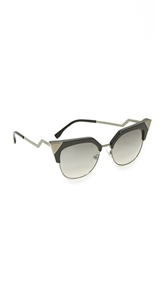 Fendi Iridia Crystal Corner Sunglasses - Black Ruthenium/Grey at Shopbop