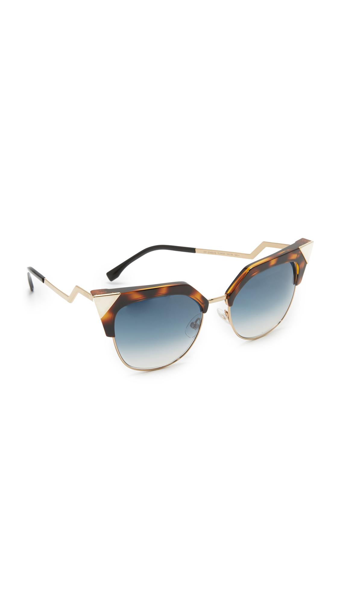Fendi Iridia Crystal Corner Sunglasses - Havana Gold/Azure at Shopbop