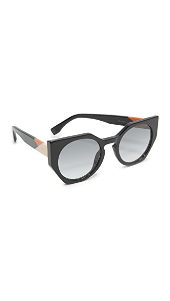 Fendi Facets Perfect Corner Sunglasses - Black/Grey at Shopbop