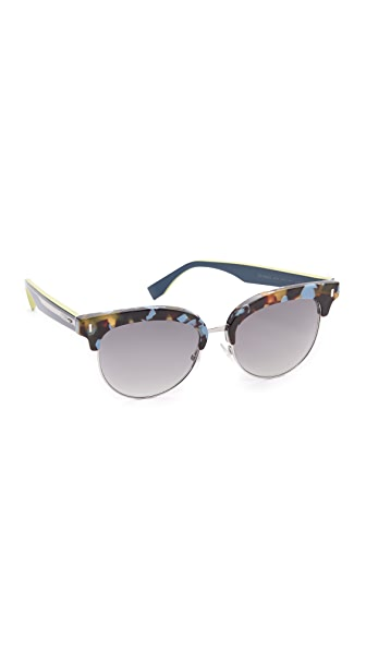 Fendi Color Block Sixteen Sunglasses - Blue Havana/Grey at Shopbop