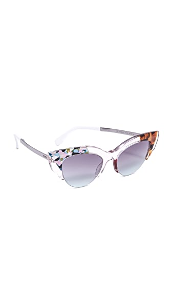 Fendi Jungle Cat Eye Printed Sunglasses - Pink Multi//Violet Aqua at Shopbop