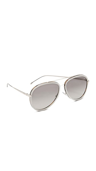 Fendi Funky Angle Aviator Sunglasses - Beige/Grey at Shopbop