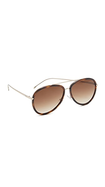 Fendi Funky Angle Aviator Sunglasses - Havana Gold/Brown at Shopbop