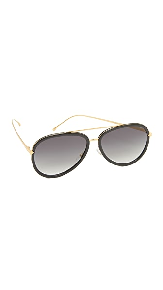 Fendi Funky Angle Aviator Sunglasses - Black Gold/Grey at Shopbop