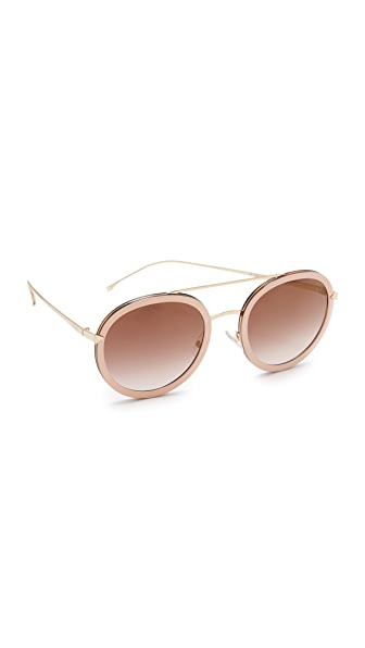 Fendi Funky Angle Round Sunglasses - Pink/Brown at Shopbop