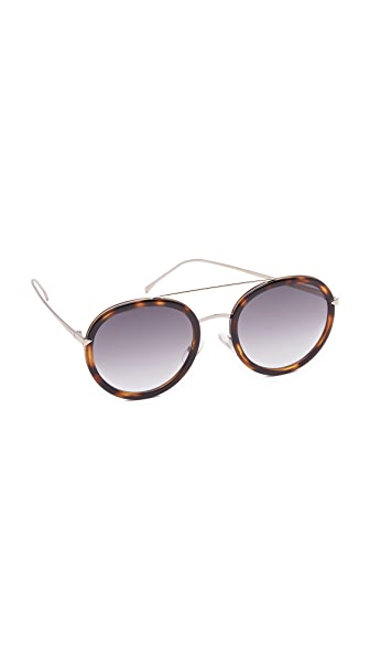 Fendi Funky Angle Round Sunglasses - Havana/Blue at Shopbop