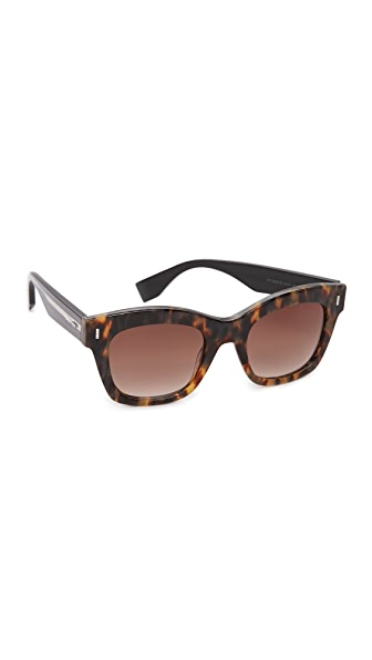 Fendi Colorblock Square Sunglasses - Light Havana Black/Brown at Shopbop