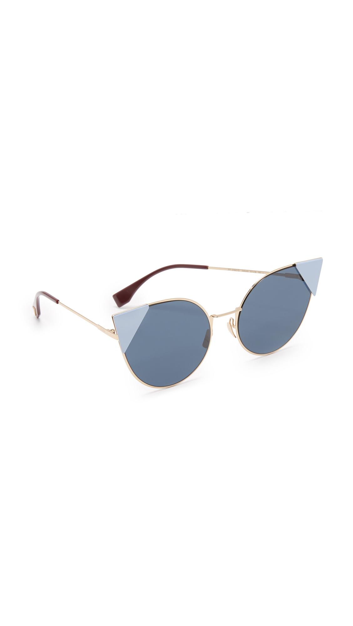 Fendi Arrow Accent Sunglasses - Rose Gold Blue/Blue at Shopbop