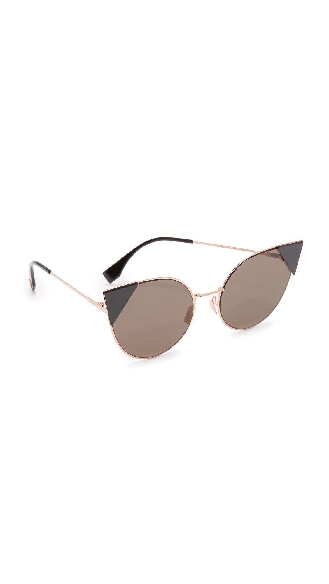 Fendi Arrow Accent Sunglasses - Rose Gold Black/Black at Shopbop