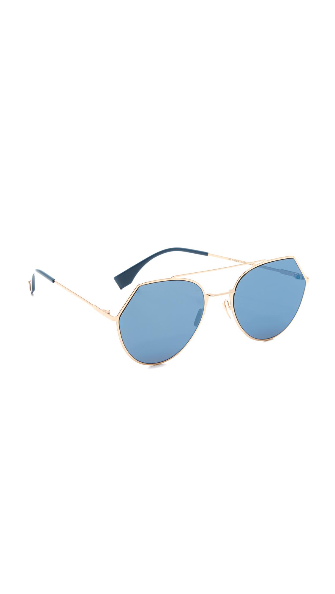 Fendi Aviator Sunglasses - Rose Gold/Blue at Shopbop