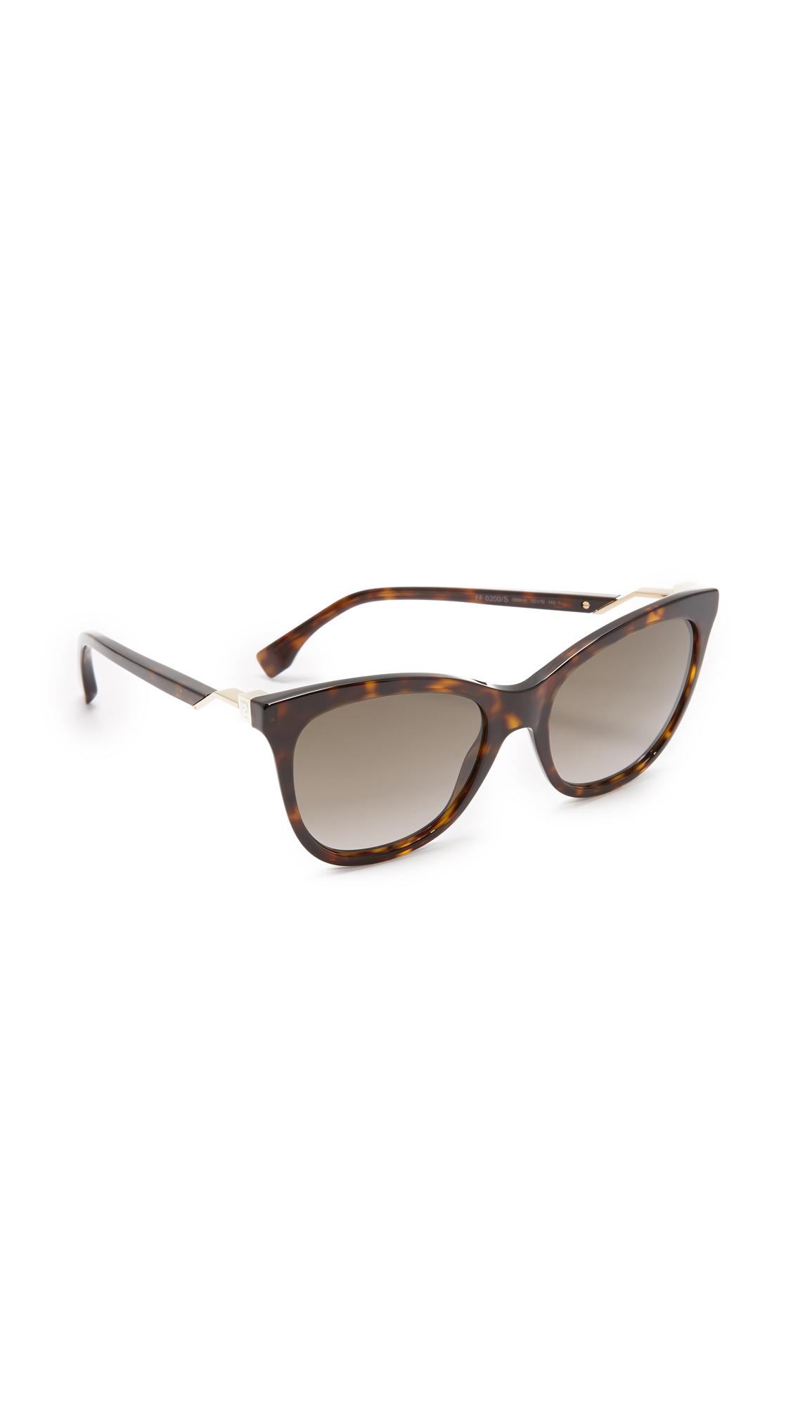 Fendi Cube Sunglasses - Havana/Brown at Shopbop