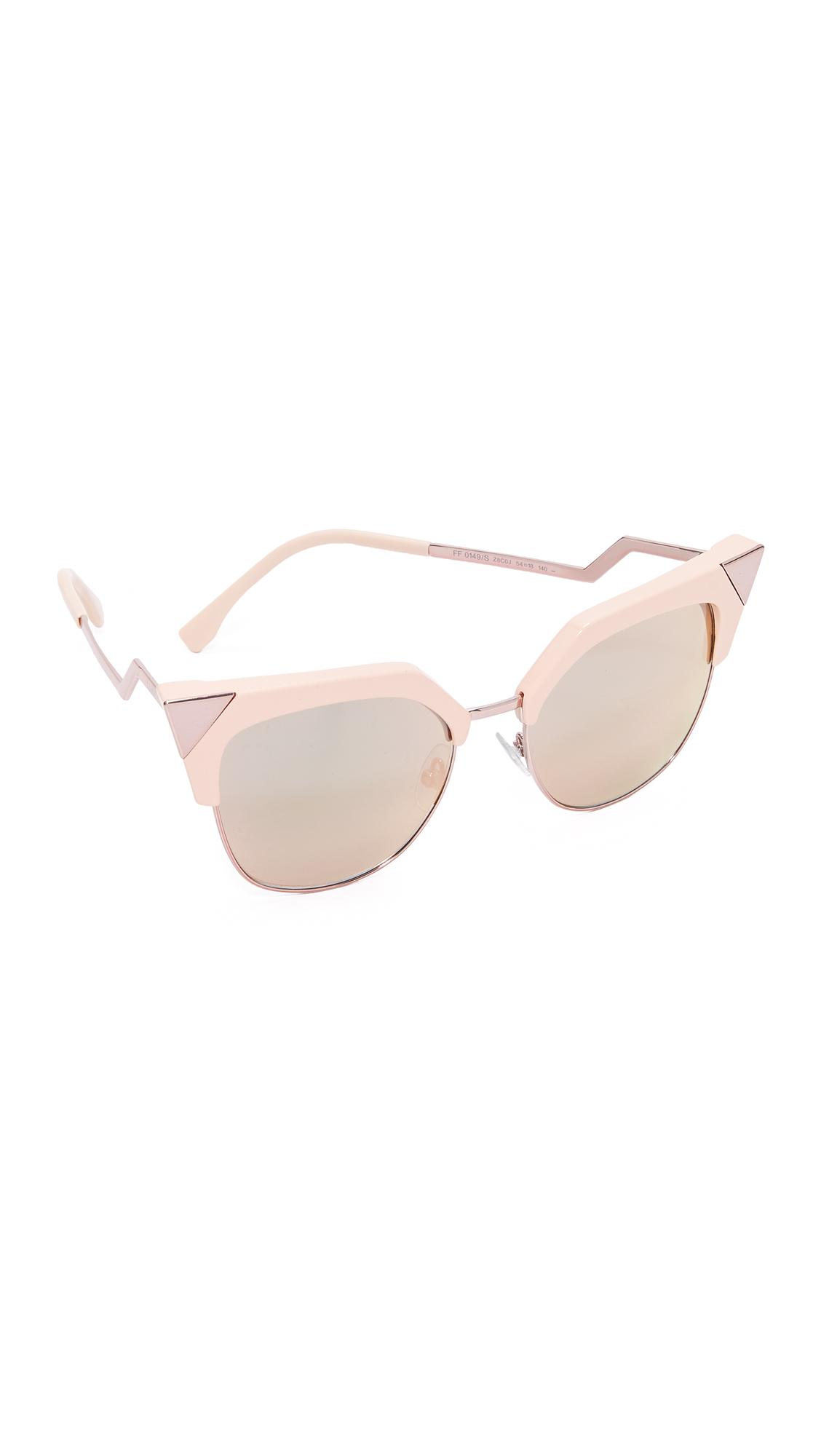 Fendi Iridia Corner Accent Sunglasses - Pink/Rose Gold at Shopbop