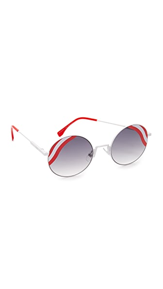 Fendi Round Waves Sunglasses - White Red/Dark Grey