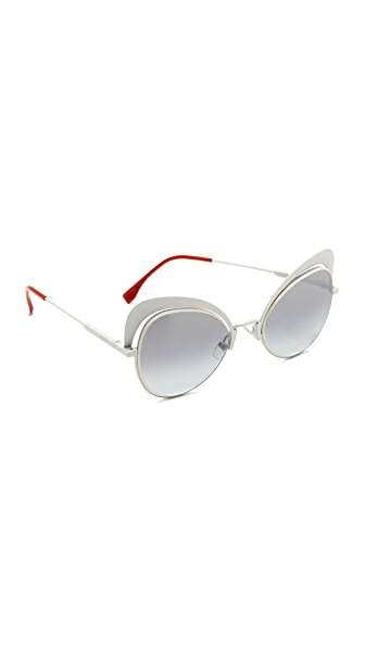 Fendi Cat Eye Sunglasses - White/Grey Azure