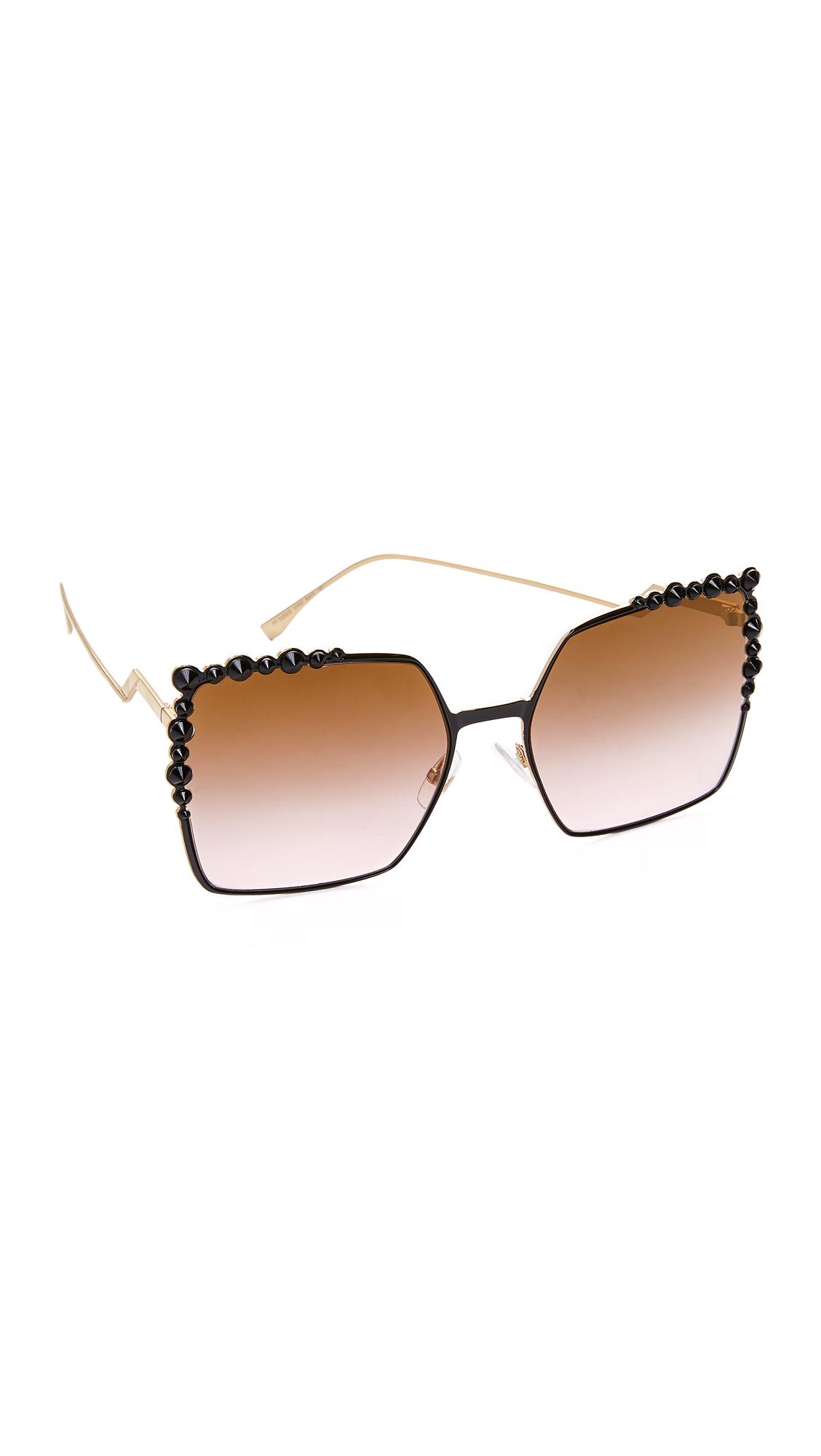 Fendi Square Sunglasses - Black/Brown