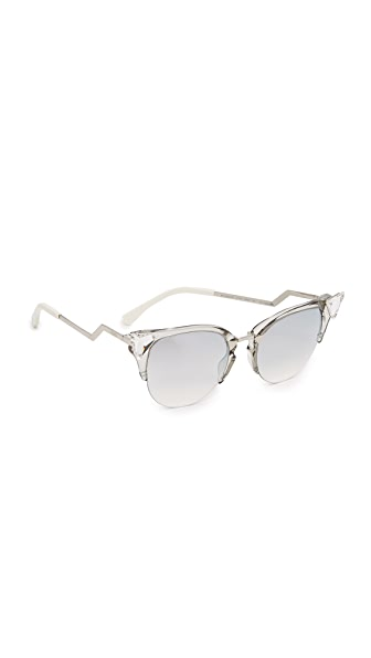 Fendi Iridia Crystal Corner Mirrored Sunglasses - Crystal Palladium/Violet