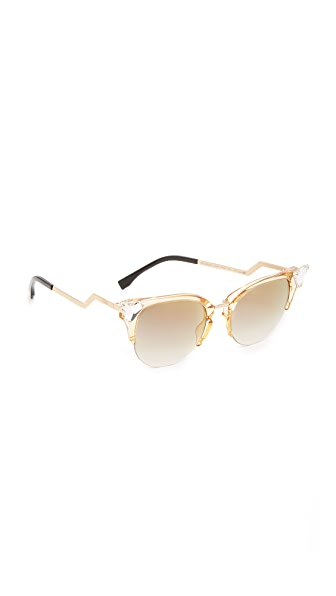 Fendi Iridia Crystal Corner Sunglasses - Yellow Gold/Grey