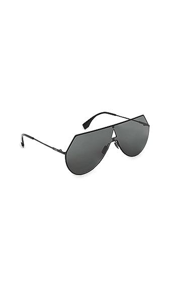 Fendi Shield Aviator Sunglasses at Shopbop