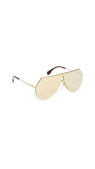 Fendi Shield Aviator Sunglasses In Yellow Gold/Brown Gold