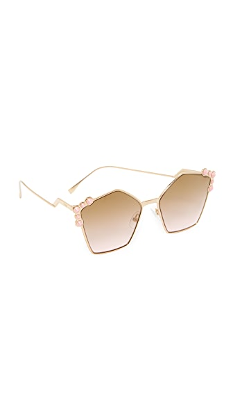 Fendi Geometric Sunglasses - Rose Gold/Brown