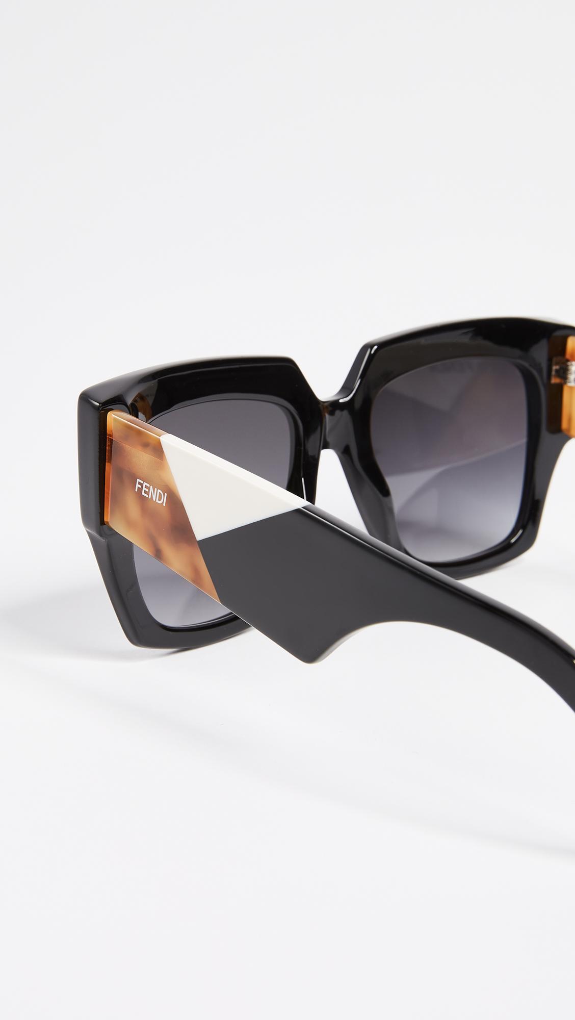 796ca594cc Fendi Square Colorblock Sunglasses