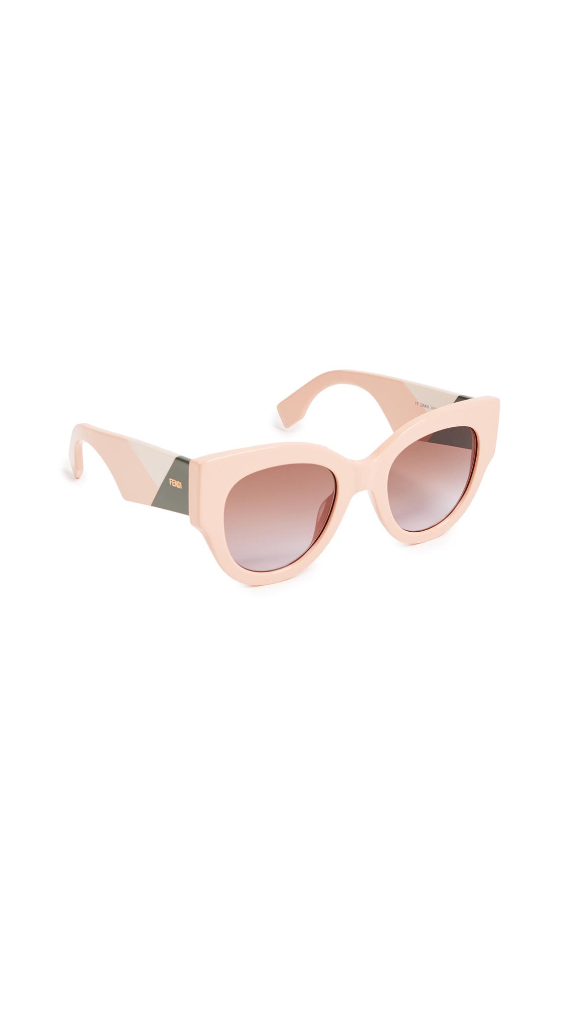Fendi Cat Eye Colorblock Sunglasses In Pink/Brown