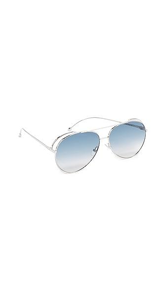 Fendi Double Rim Aviator Sunglasses In Palladium/Dark Blue