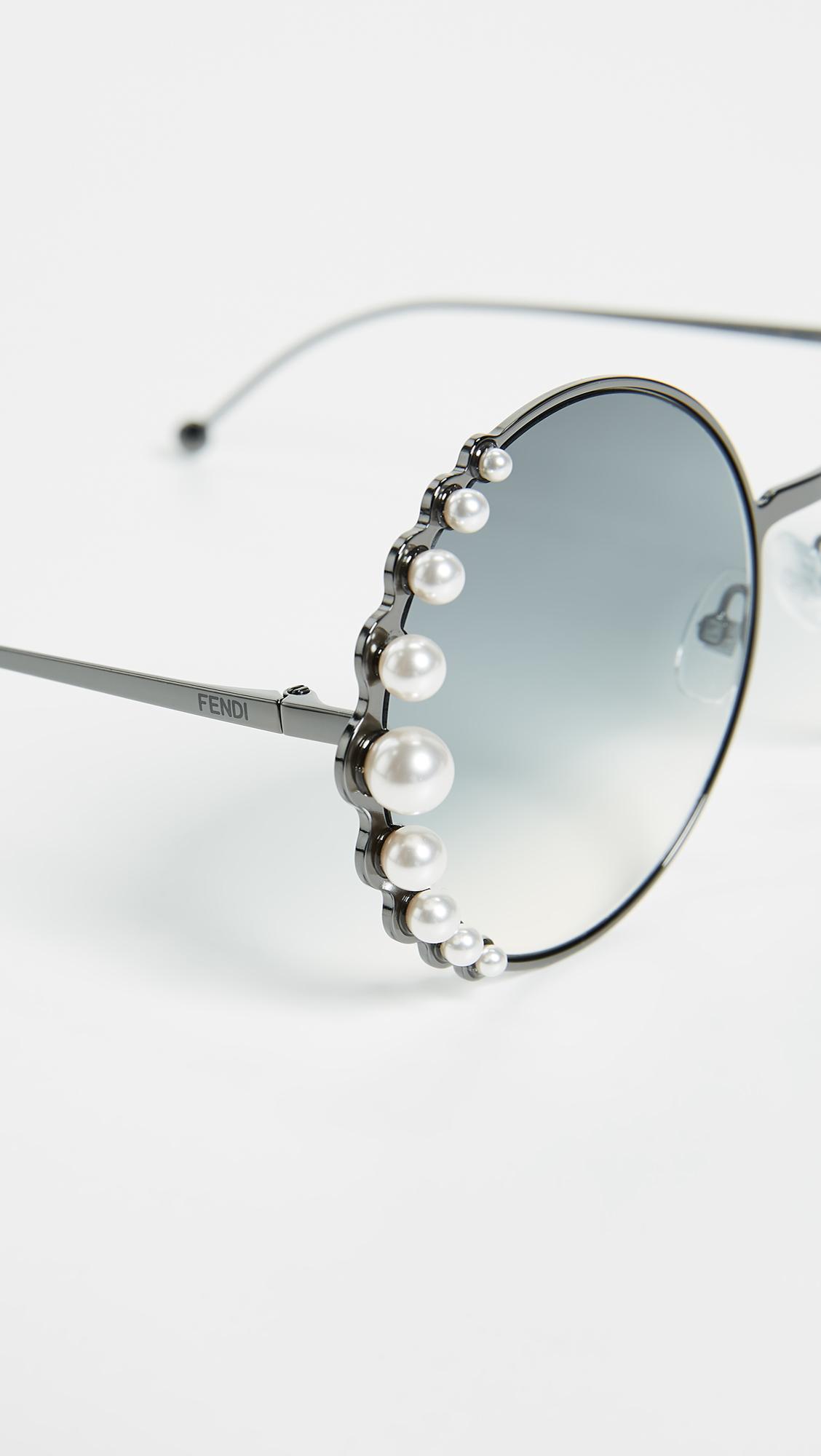 ecd2e013216 Fendi Round Pearl Frame Sunglasses