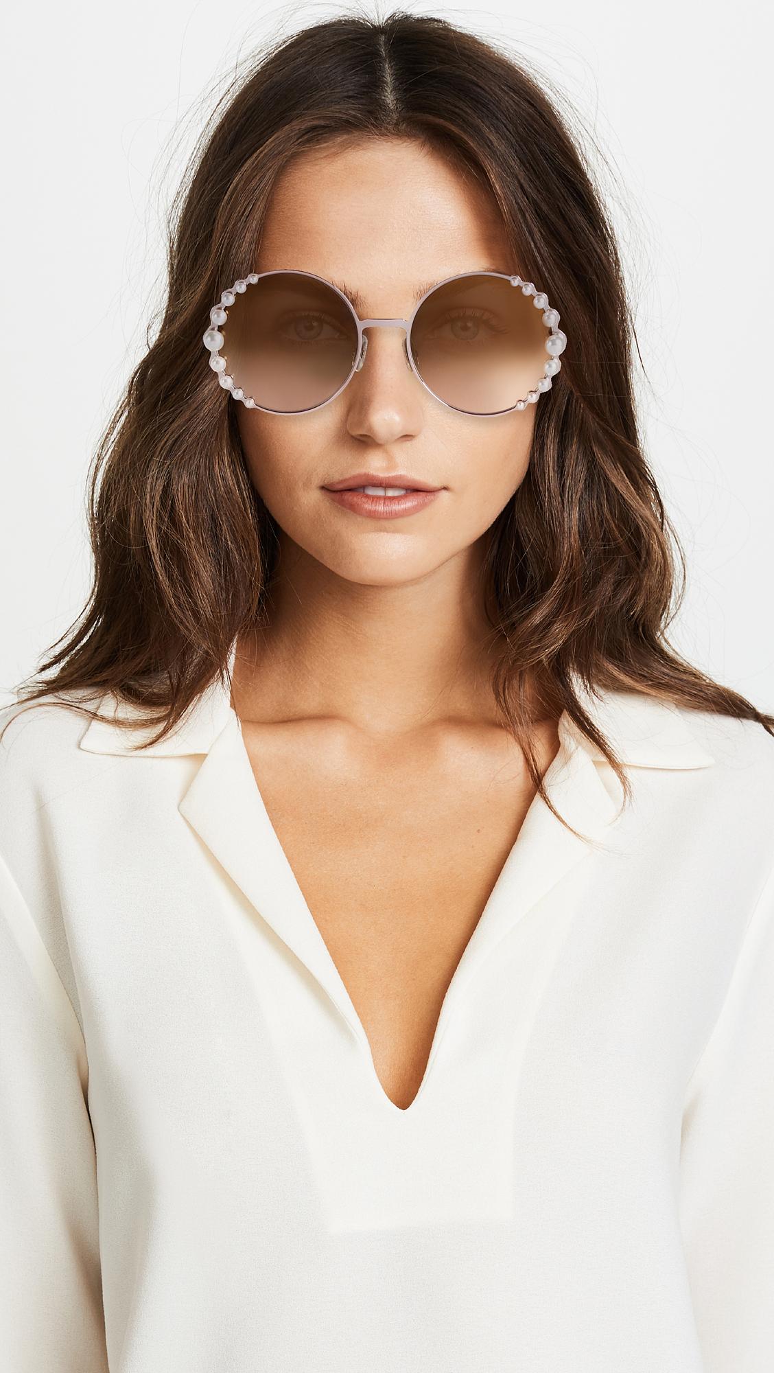 a598fbfd146 Fendi Round Pearl Frame Sunglasses