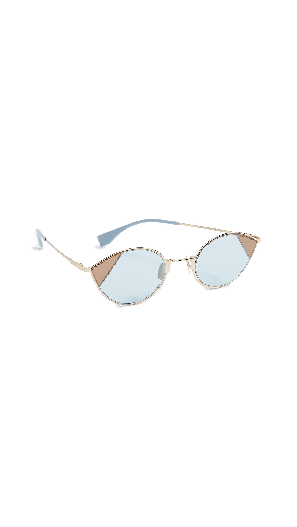 a03cd466ea9c Fendi Narrow Cat Eye Color Block Sunglasses In Gold Azure ...