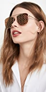 Fendi Peach Logo Square Aviator Sunglasses
