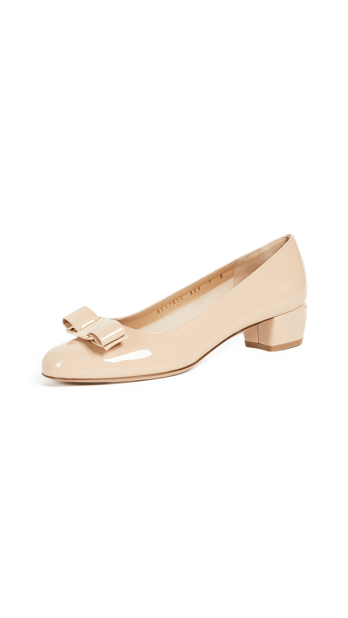 Salvatore Ferragamo Vara Low Heel Pumps - New Bisque