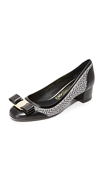 Salvatore Ferragamo Eva Leather Pumps - Nero/Panna/Nero