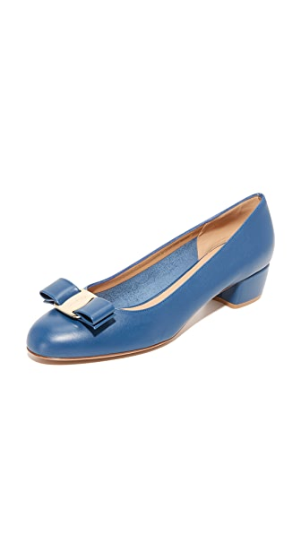 Salvatore Ferragamo Vara Low Heel Pumps - Pacific