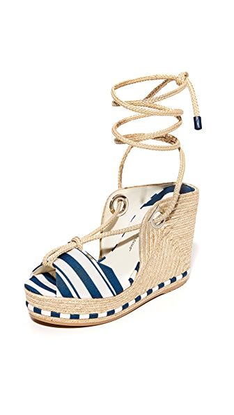 Salvatore Ferragamo Evita Wedge Sandals - Pacific/Panna/Pacific