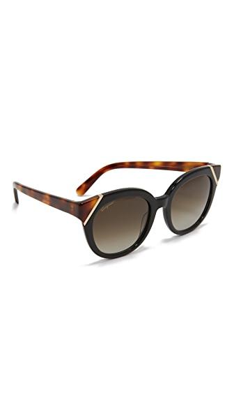 Salvatore Ferragamo Colorblock Sunglasses - Black Tortoise/Grey