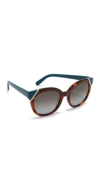 Salvatore Ferragamo Colorblock Sunglasses - Tortoise Petrol/Brown