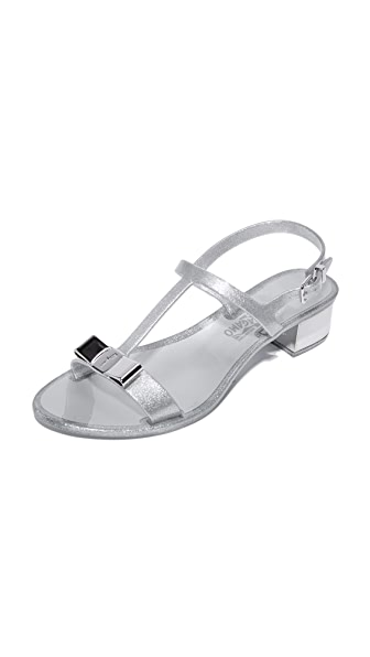 Salvatore Ferragamo Favilia Jelly City Sandals - Glitter Silver