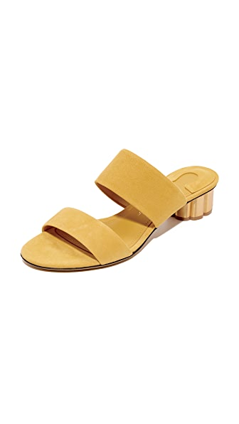 Salvatore Ferragamo Belluno City Slides In Indian Yellow