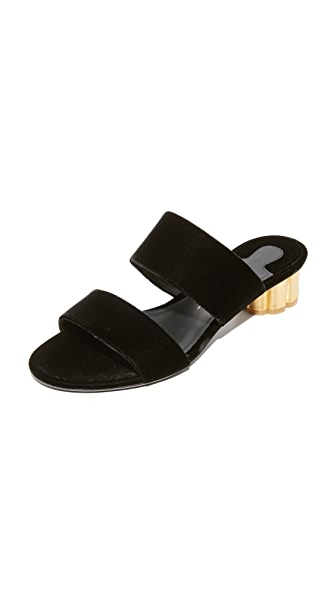 Salvatore Ferragamo Belluno Velvet City Slides - Nero