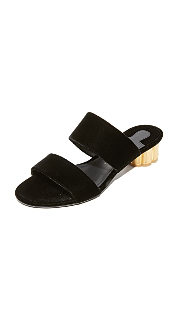 Salvatore Ferragamo Belluno Velvet City Slides