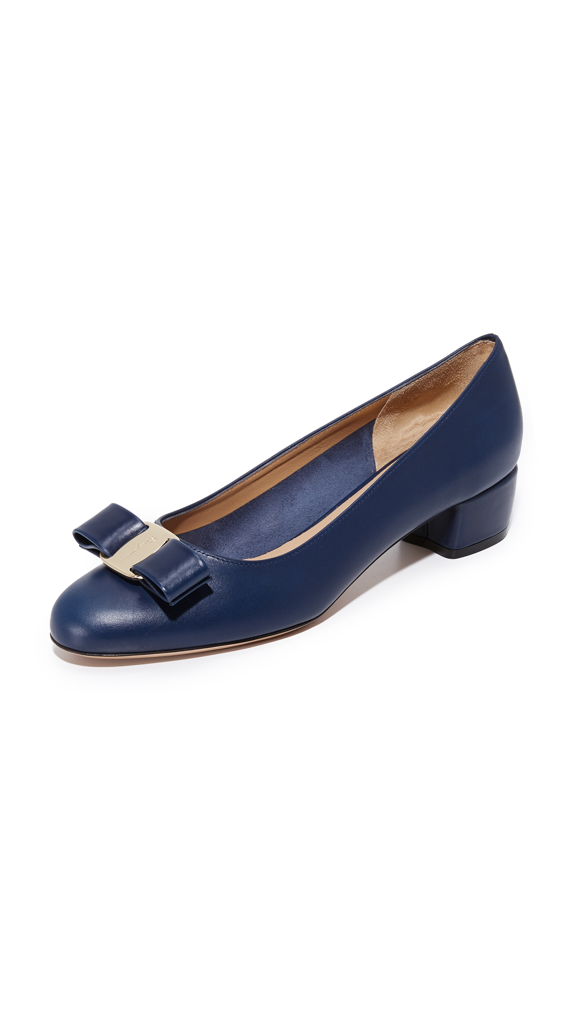 Salvatore Ferragamo Vara Low Heel Pumps - Oxford Blue