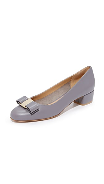 Salvatore Ferragamo Vara Low Heel Pumps - Urban Grey