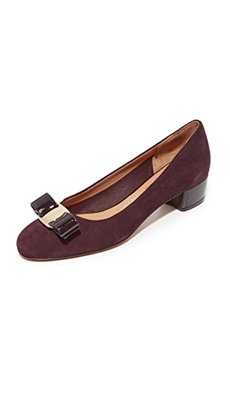 Salvatore Ferragamo Vara Low Heel Pumps - Dark Bordeaux