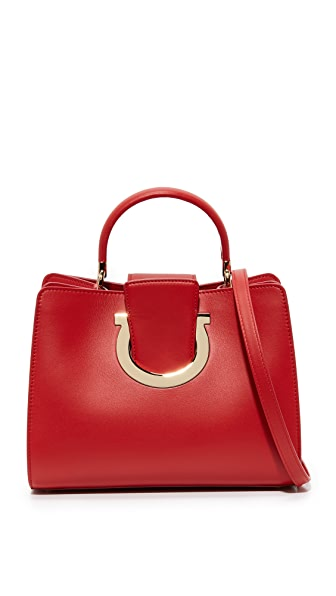 Salvatore Ferragamo Thea Top Handle Satchel In Lipstick