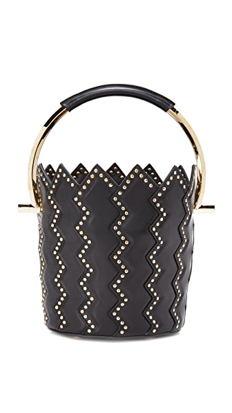 Salvatore Ferragamo Metal Handle Bucket Bag - Nero