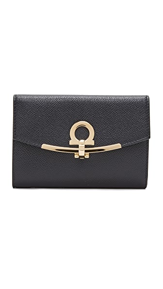 Salvatore Ferragamo Small Gancino Clip Wallet - Black