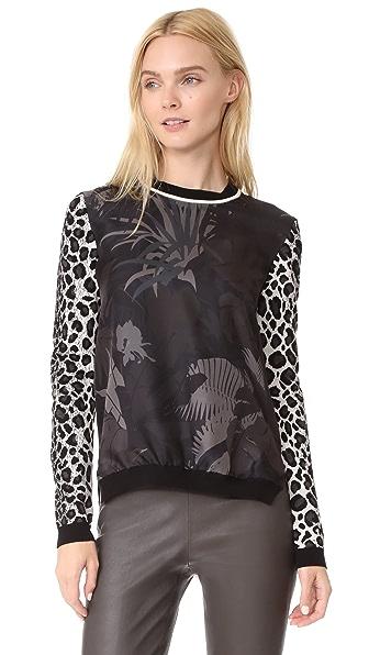 Salvatore Ferragamo Mixed Print Sweater In Latte/Granito